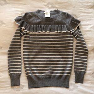 Le Lis Gray White Stripe Ruffle Sweater